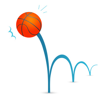 Bouncing basketball ball cartoon illustration